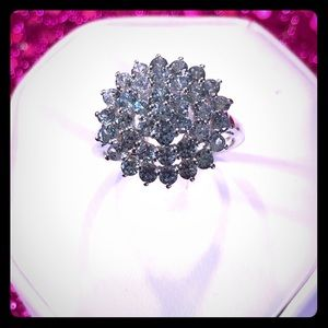 Aquamarine Crystal Sterling Silver Ring